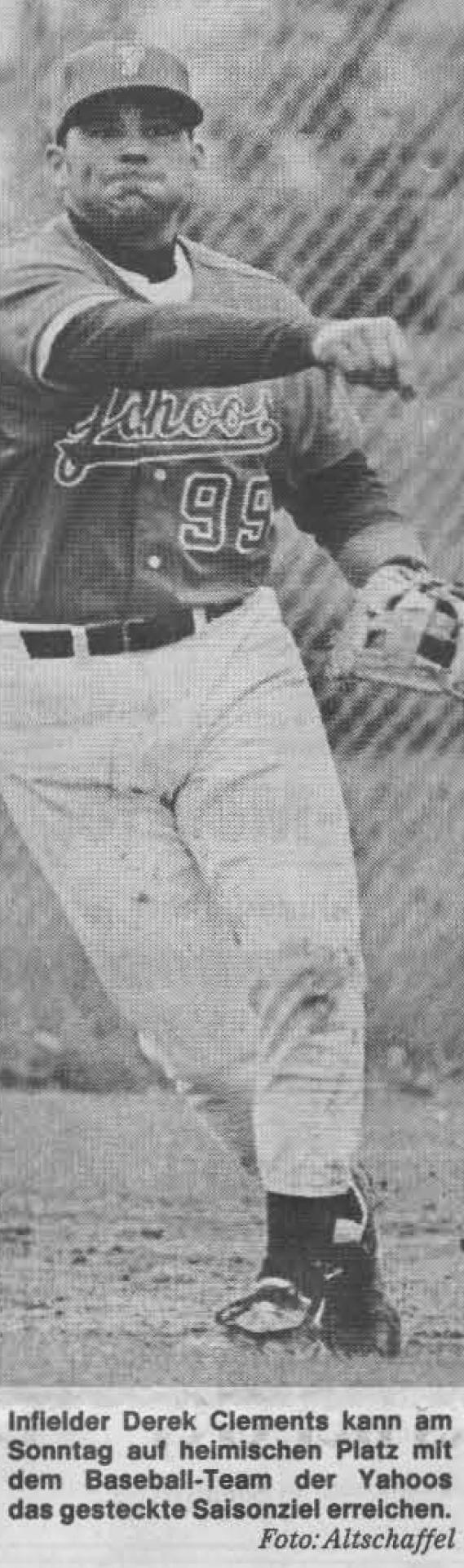 Infielder Derek Clements kam am Sonntag auf heimischen Pletz mit dem Baseball-Team der Yahoos das gesteckte Saisonziel erreichen. Foto: Altschaffel