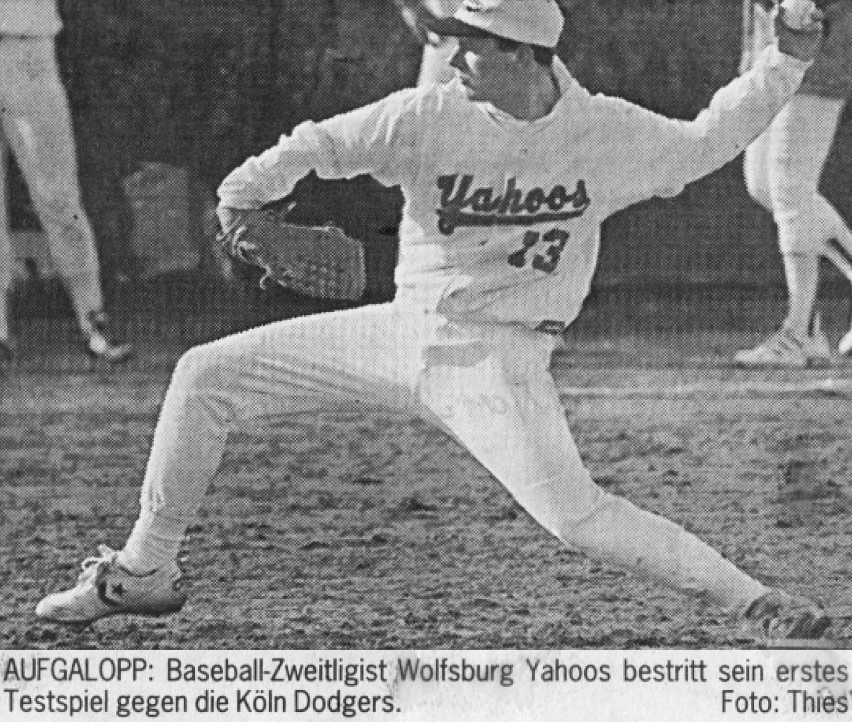 AUFGALOPP: Baseball-Zweitligist Wolfsburg Yahoos bestritt sein erstes Testspiel gegen die Köln Dodgers. Foto: Thies