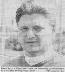 Ronald Beiker schlug sich mit seinen vier Homeruns gegen Wesseling in die Geschichte der Wolfsburg Yahoos. Foto: Joachim Thies