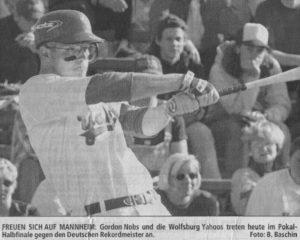 FREUEN SICH AUF MANNHEIM: Gordon Nobs und die Wolfsburg Yahoos treten heute im Pokal-Halbfinale gegen den Deutschen Rekordmeister an. Foto: B. Baschin