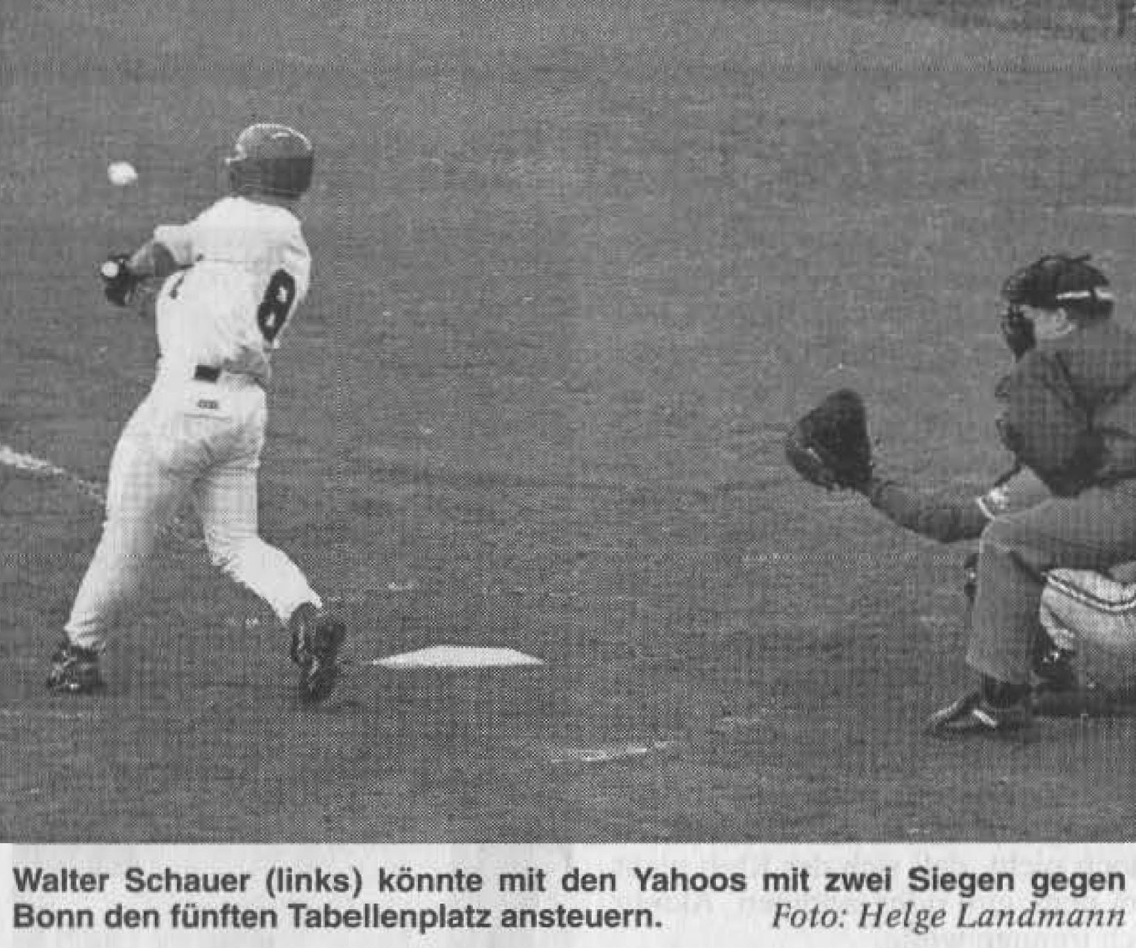Walter Schauer (links) könnte mit den Yahoos mit zwei Siegen gegen Bonn den fünften Tabellenplatz ansteuern. Foto: Helge Landmann