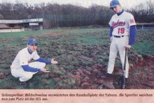 Unbespielbar: Wildschweine verwüsteten den Baseballplatz der Yahoos, die Sportler weichen nun zum Platz an der IGS aus.