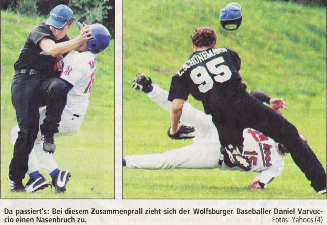 Da passiert's: Bei diesem Zusammenprall zieht sich der Wolfsburger Baseballer Daniel Varvuccio einen Nasenbruch zu. Fotos: Yahoos